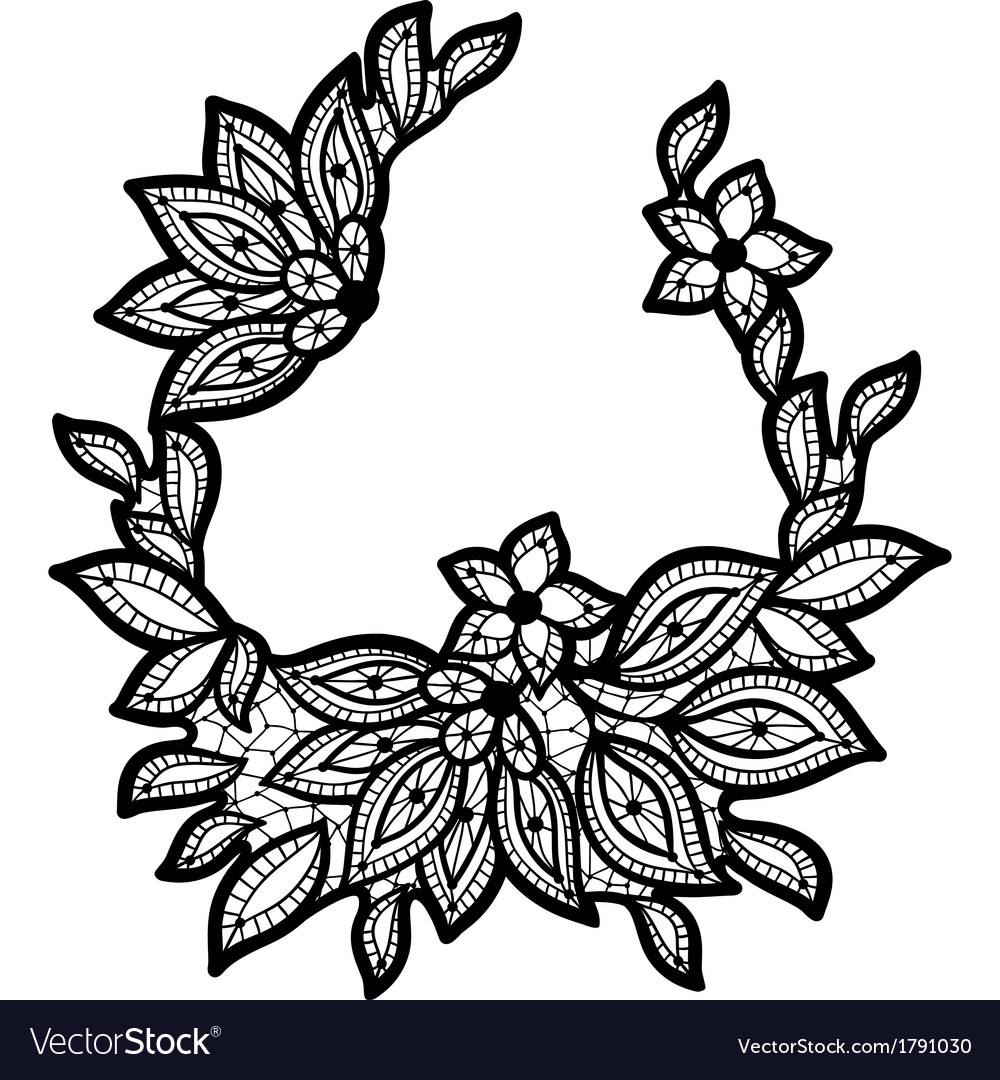 Black and lace floral design isolated on white vector | Price: 1 Credit (USD $1)