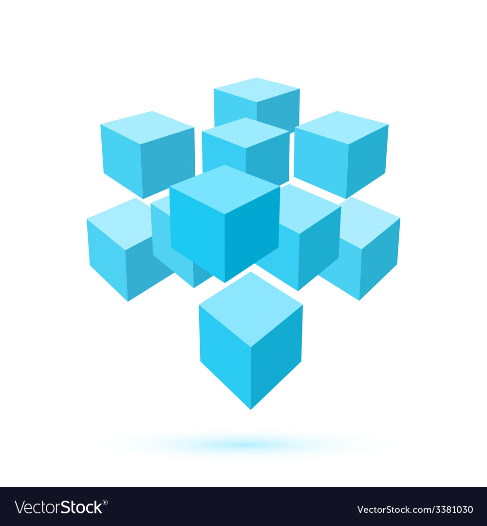 Blue cube icon logo template vector | Price: 1 Credit (USD $1)