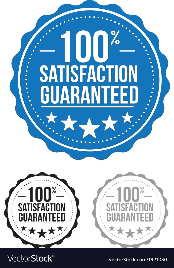 Blue satisfaction guaranteed seal stamp design vector | Price: 1 Credit (USD $1)