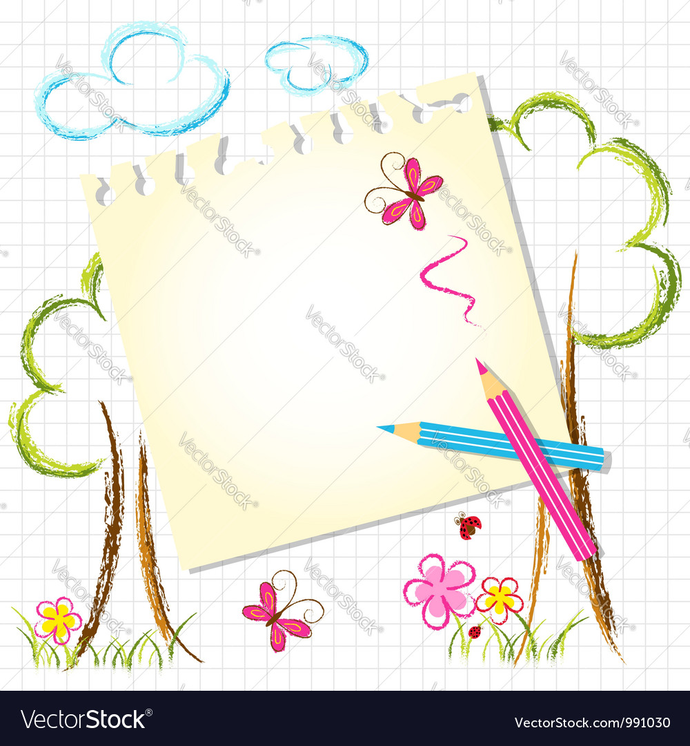 Colorful color pencil drawing background vector | Price: 1 Credit (USD $1)