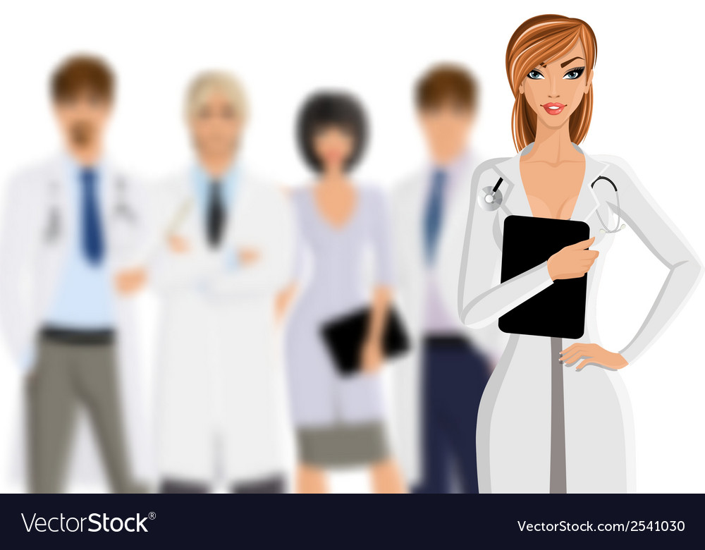 Doctor with medical staff vector | Price: 1 Credit (USD $1)