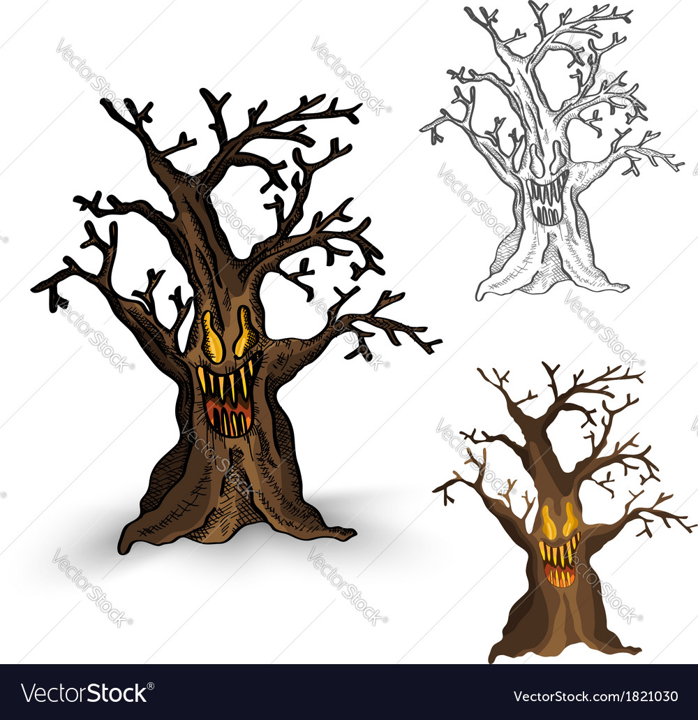 Halloween monsters isolated spooky haunted tree vector | Price: 1 Credit (USD $1)