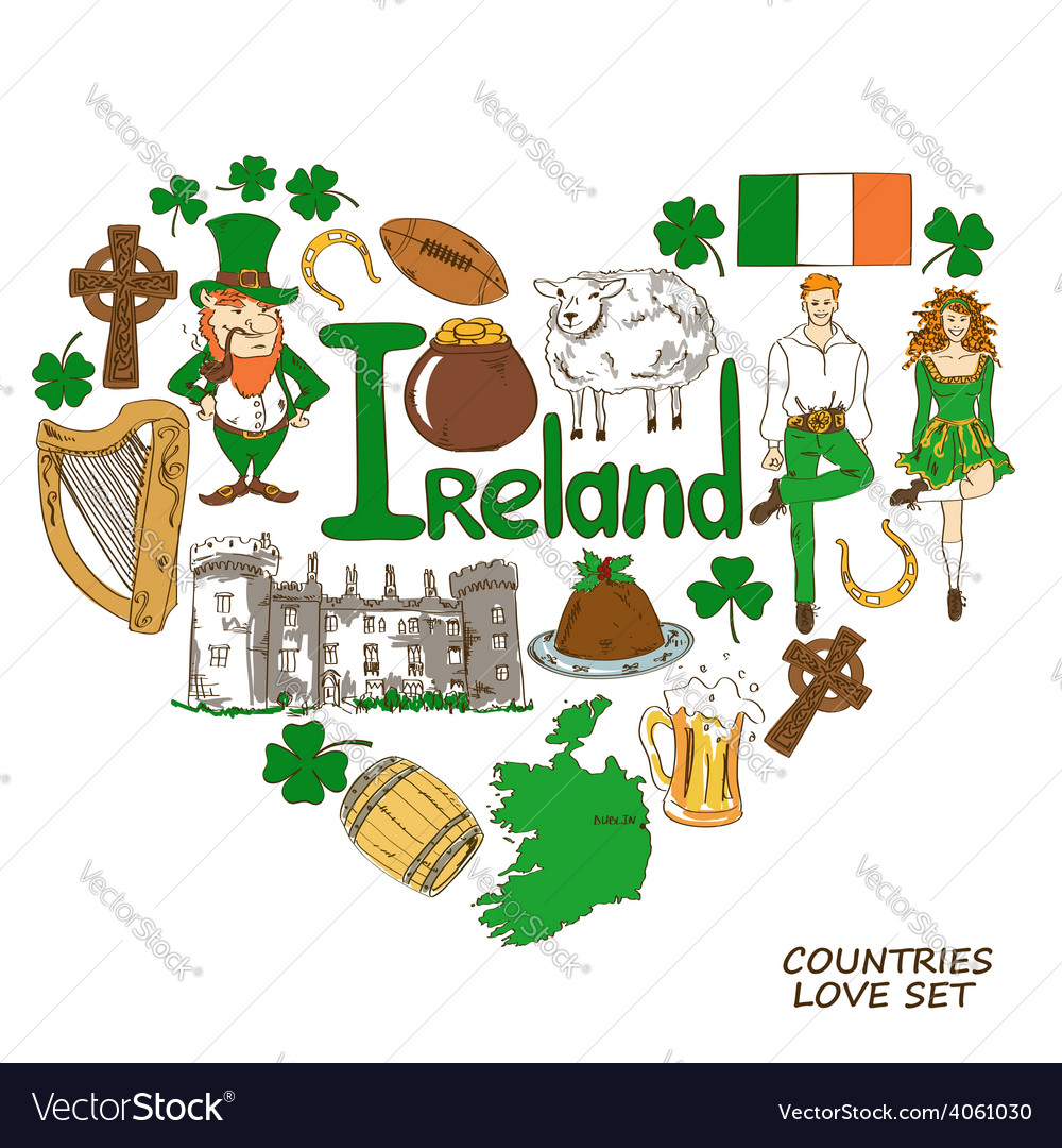 Heart shape concept of irish symbols vector | Price: 1 Credit (USD $1)