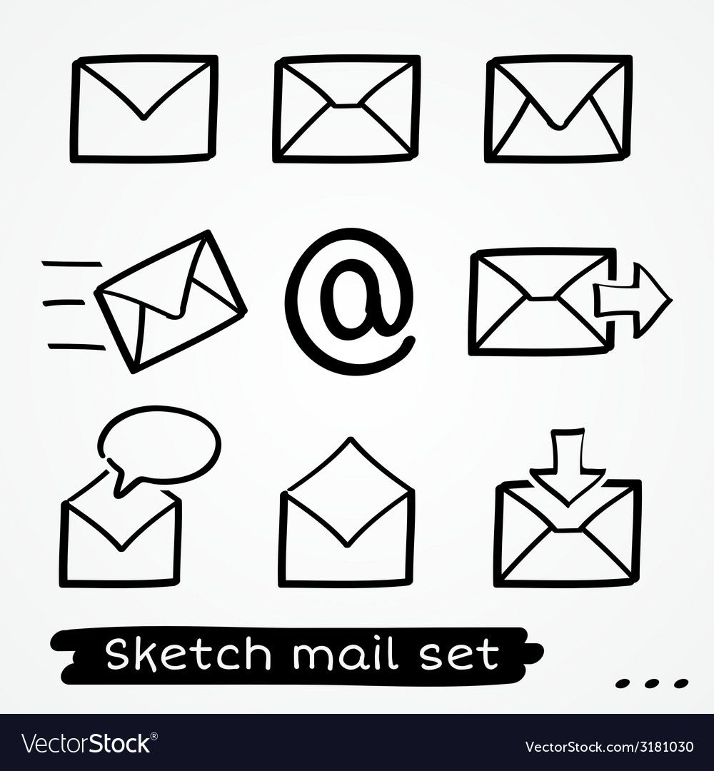 Mail sketch set vector | Price: 1 Credit (USD $1)