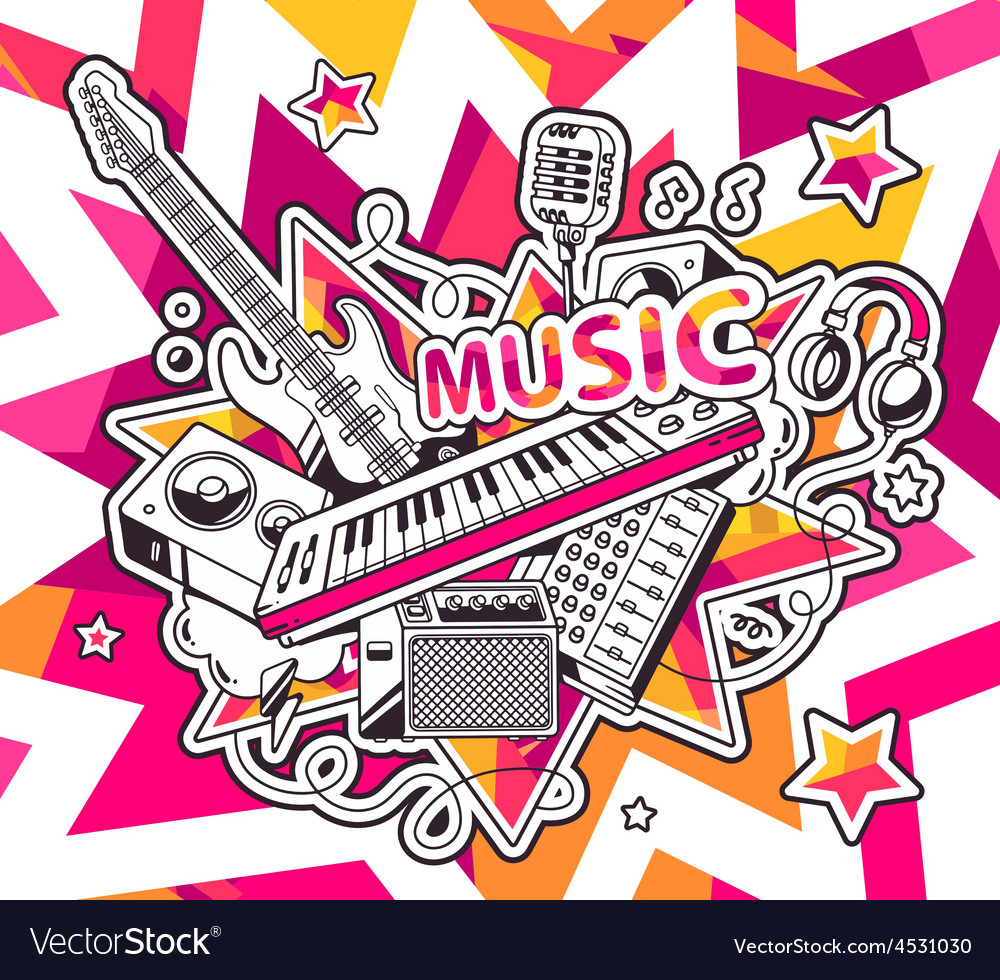 Red and yellow set of musical instruments vector   Price: 1 Credit (USD $1)