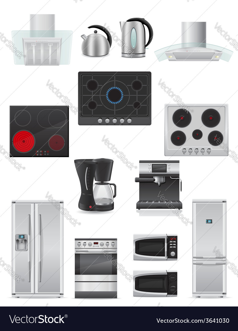 Set of kitchen appliances 03 vector | Price: 5 Credit (USD $5)