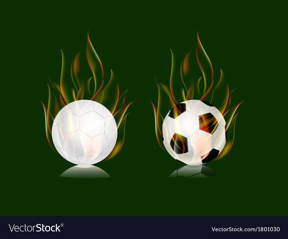 Soccer balls in fire flame vector | Price: 1 Credit (USD $1)