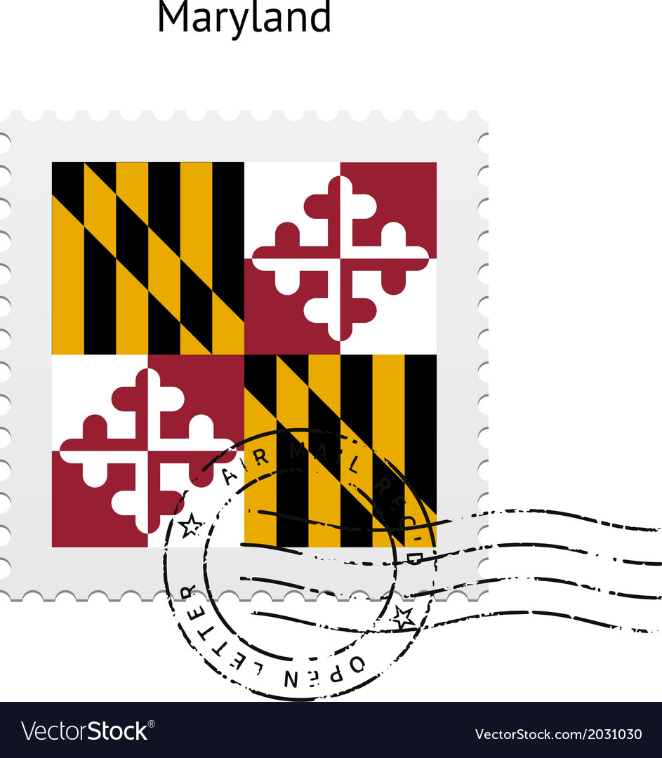 State of maryland flag postage stamp vector | Price: 1 Credit (USD $1)