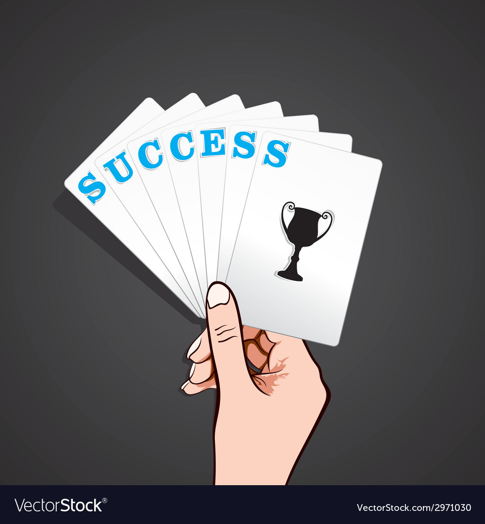 Success playing card in hand vector | Price: 1 Credit (USD $1)