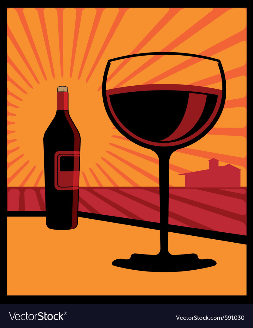 Wine glass and bottle vector | Price: 3 Credit (USD $3)