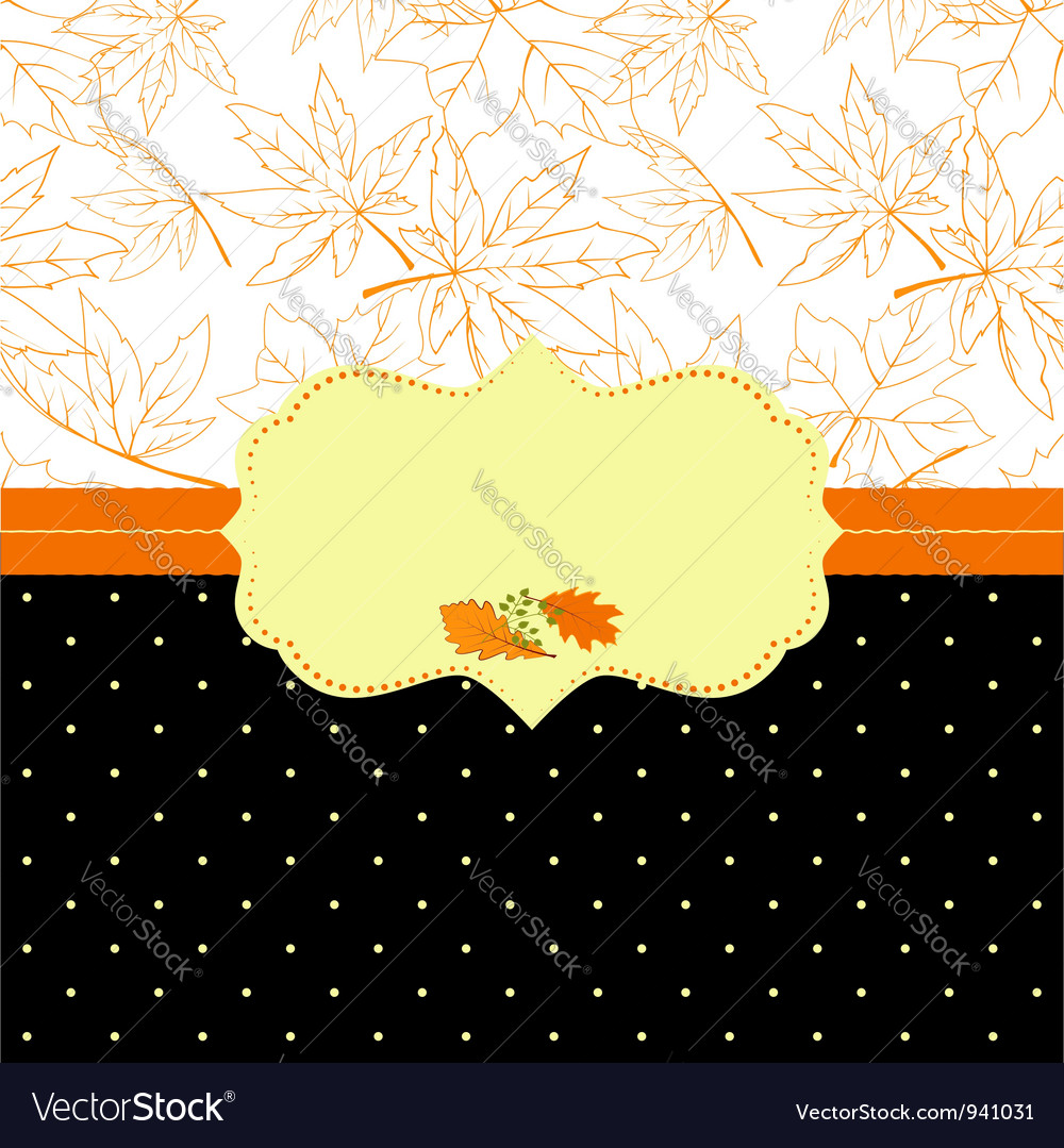 Autumn ornate frame greeting card vector | Price: 1 Credit (USD $1)