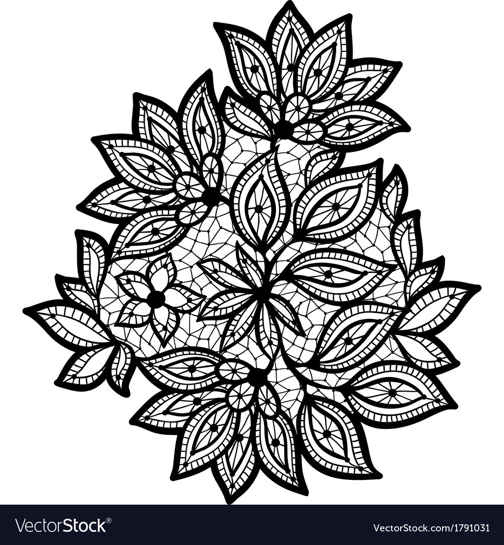 Black and lace floral design isolated on white vector   Price: 1 Credit (USD $1)