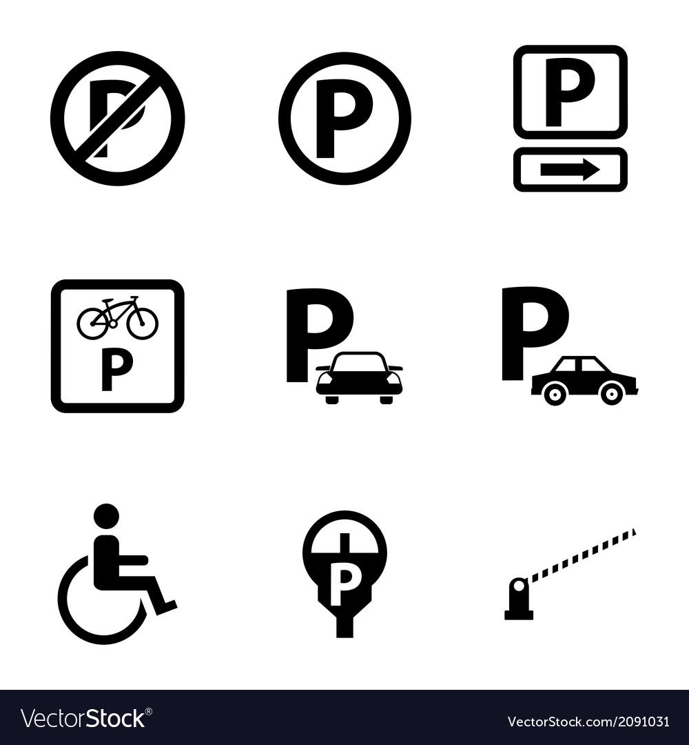 Black parking icons set vector | Price: 1 Credit (USD $1)