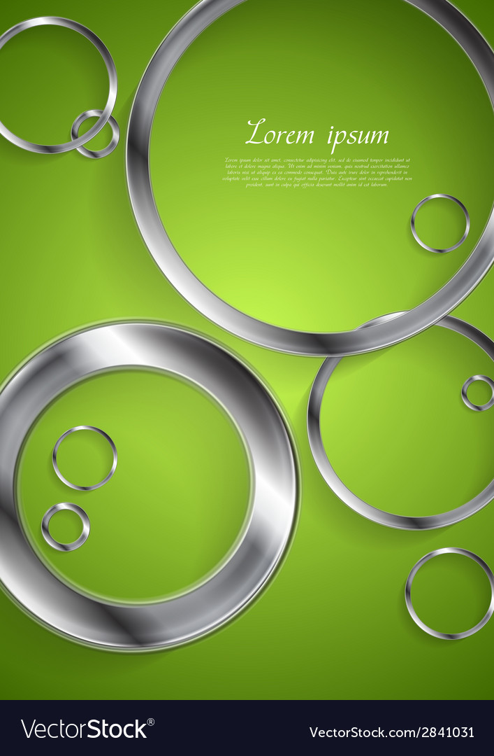 Bright green backdrop with metallic circles vector | Price: 1 Credit (USD $1)