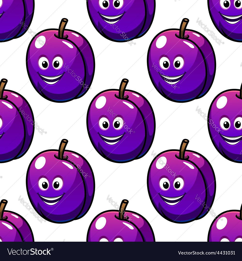 Cartoon violet plum fruit seamless pattern vector | Price: 1 Credit (USD $1)