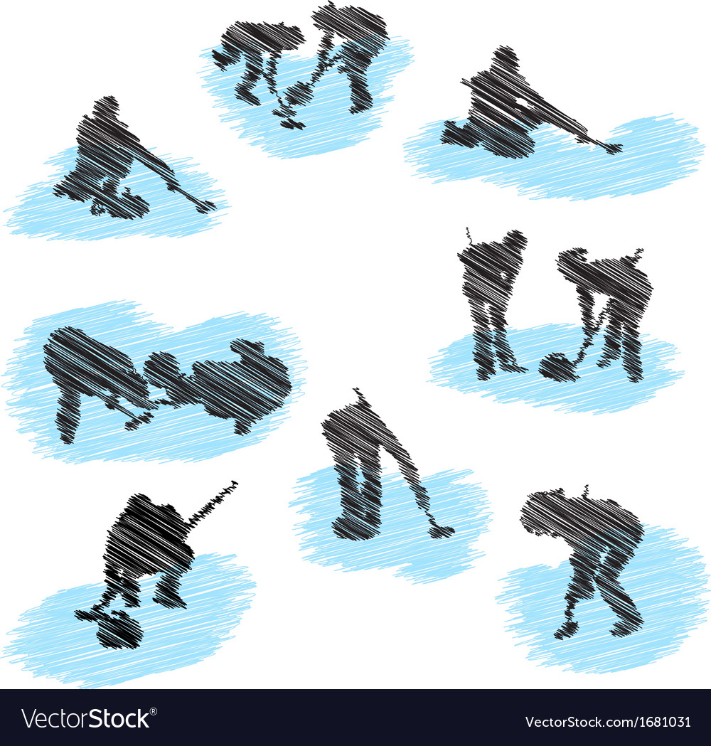 Curling sketch vector | Price: 1 Credit (USD $1)