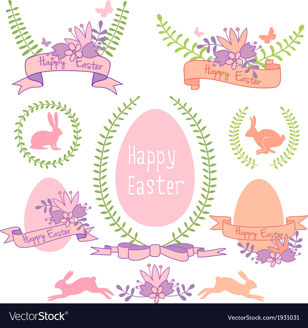 Happy easter design set vector | Price: 1 Credit (USD $1)