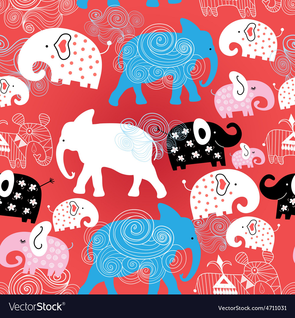 Pattern of elephants in the clouds vector | Price: 1 Credit (USD $1)