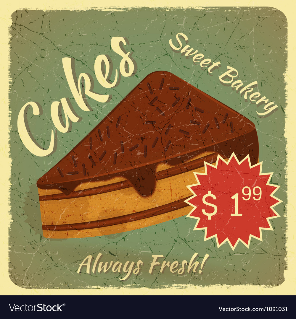 Retro menu card with slice of cake vector | Price: 1 Credit (USD $1)