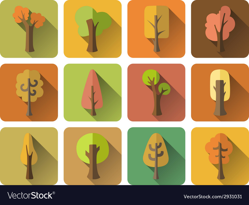 Set of 12 square autumn icons with long flat vector | Price: 1 Credit (USD $1)
