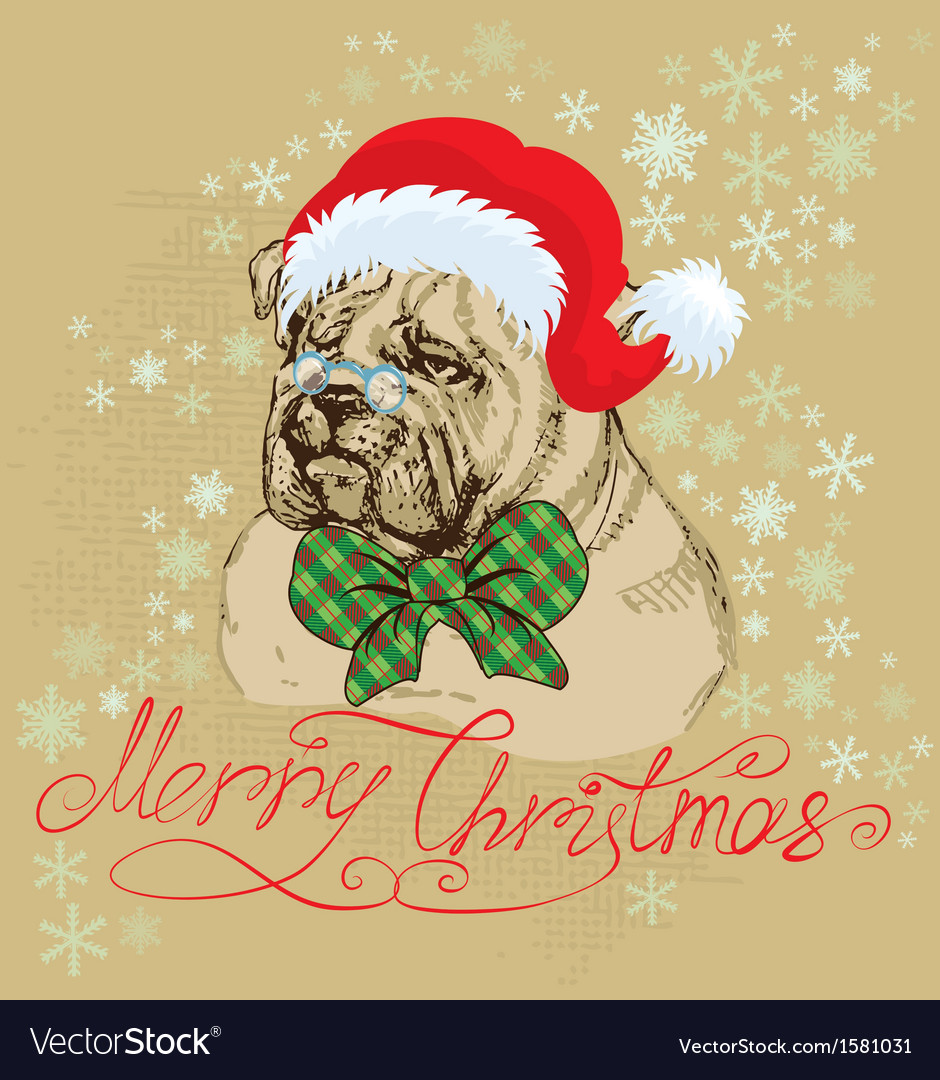 Vintage christmas card with bulldog vector | Price: 1 Credit (USD $1)