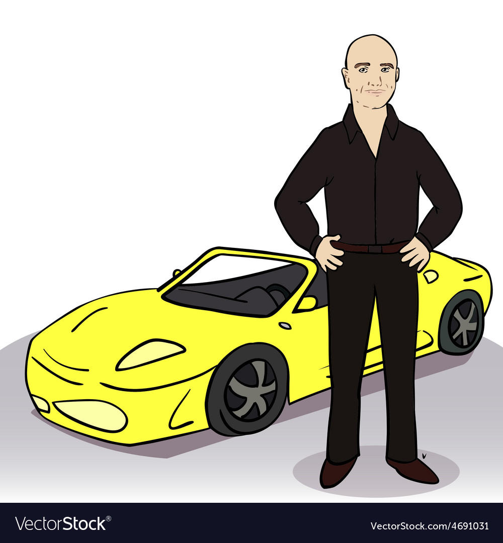 Yellow car and man vector | Price: 1 Credit (USD $1)