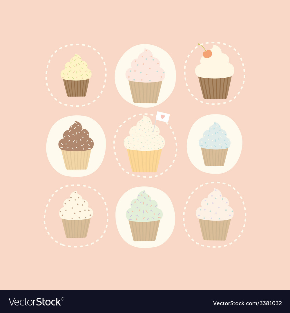 9 different cute cupcakes vector | Price: 1 Credit (USD $1)