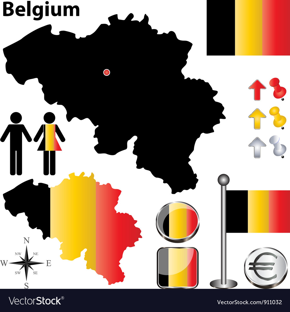 Belgium map small vector | Price: 1 Credit (USD $1)
