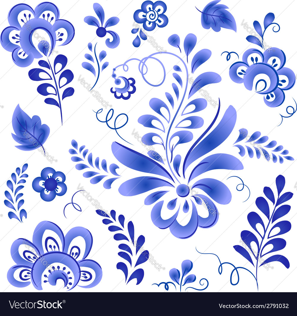 Blue floral elements in russian gzhel style vector