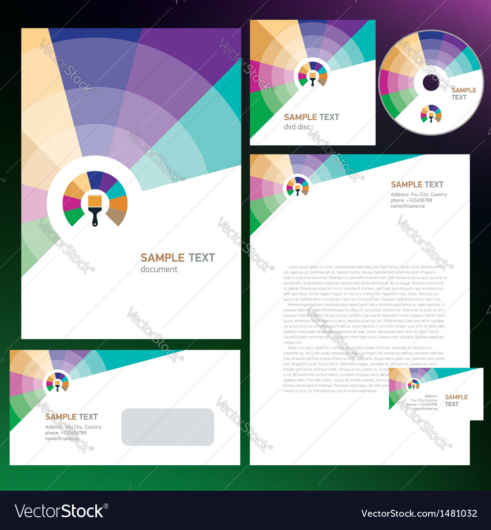 Creative corporate identity colored brush vector | Price: 1 Credit (USD $1)