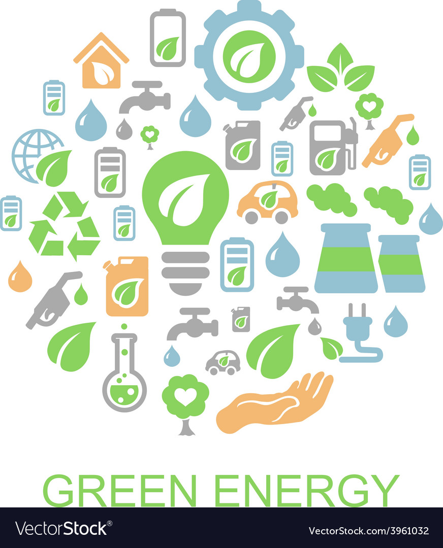Ecology background with environment green energy vector | Price: 1 Credit (USD $1)