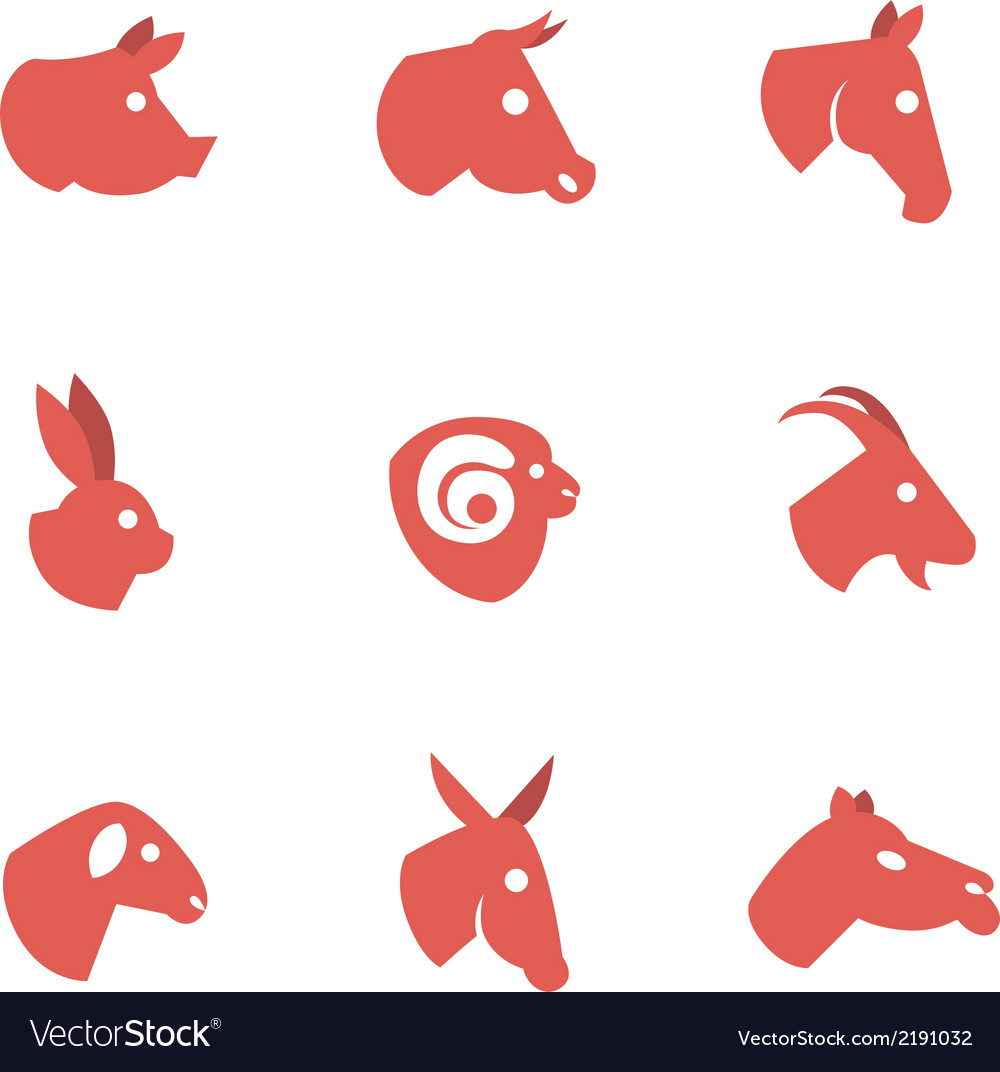 Farm animal flat icons vector | Price: 1 Credit (USD $1)