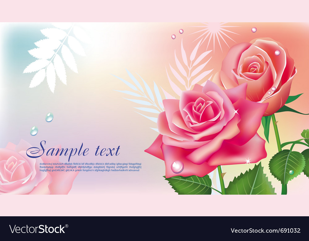 Greeting card with roses vector | Price: 3 Credit (USD $3)