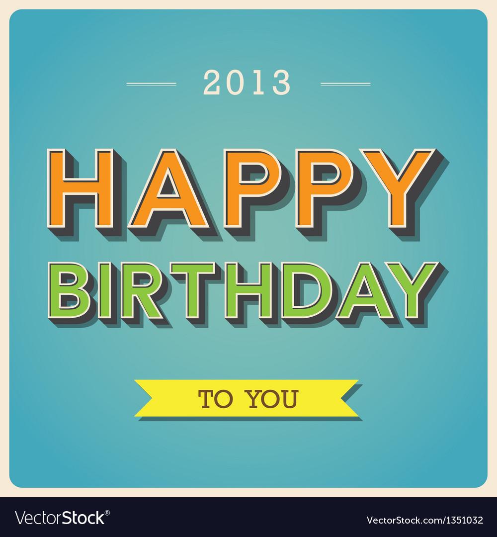 Happy birthday retro poster eps10 vector | Price: 1 Credit (USD $1)