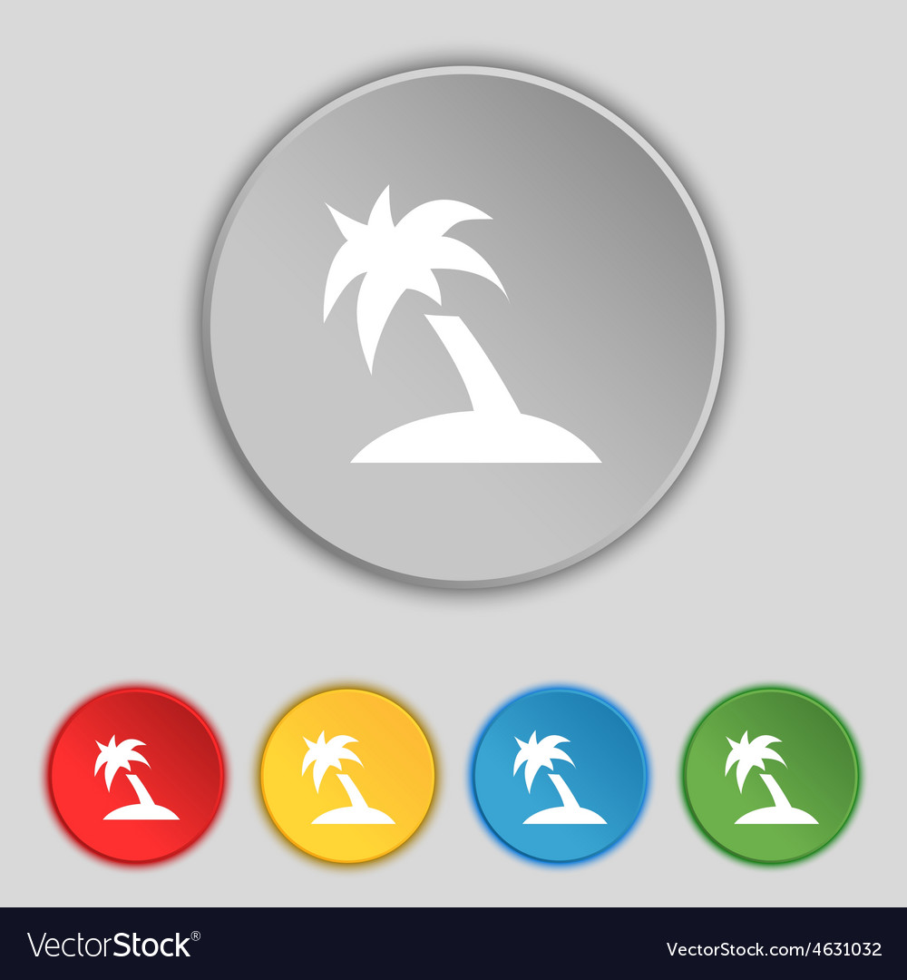 Palm tree travel trip icon sign symbol on five vector | Price: 1 Credit (USD $1)