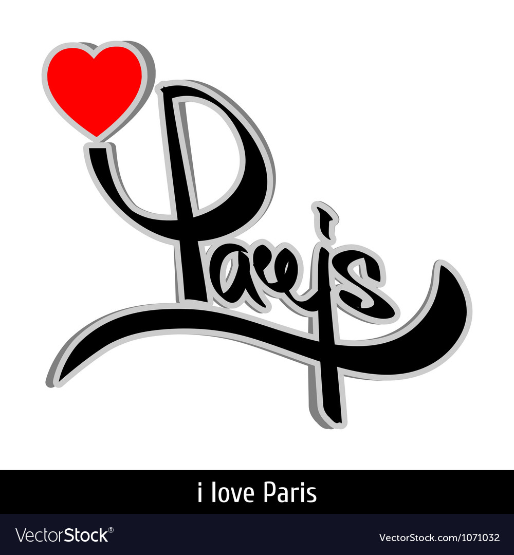 Paris greetings hand lettering calligraphy vector | Price: 1 Credit (USD $1)