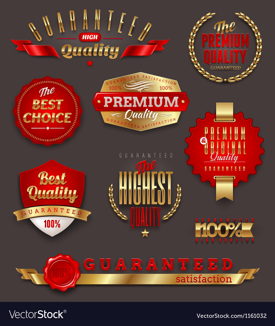 Premium quality golden labels and emblems vector | Price: 1 Credit (USD $1)