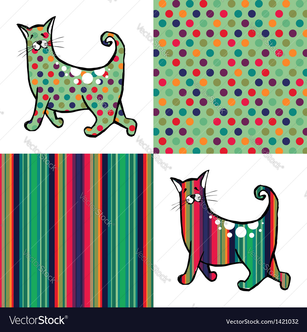 Retro style cats and backgrounds vector | Price: 1 Credit (USD $1)