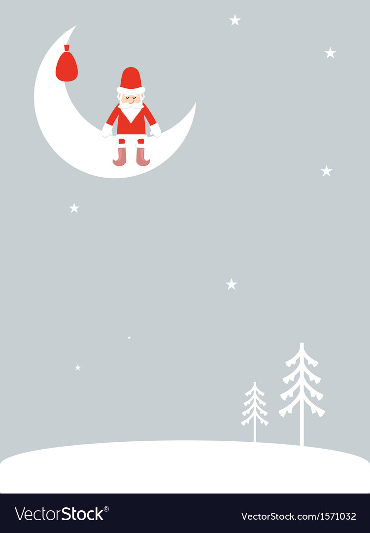 Santa claus on the moon vector | Price: 1 Credit (USD $1)