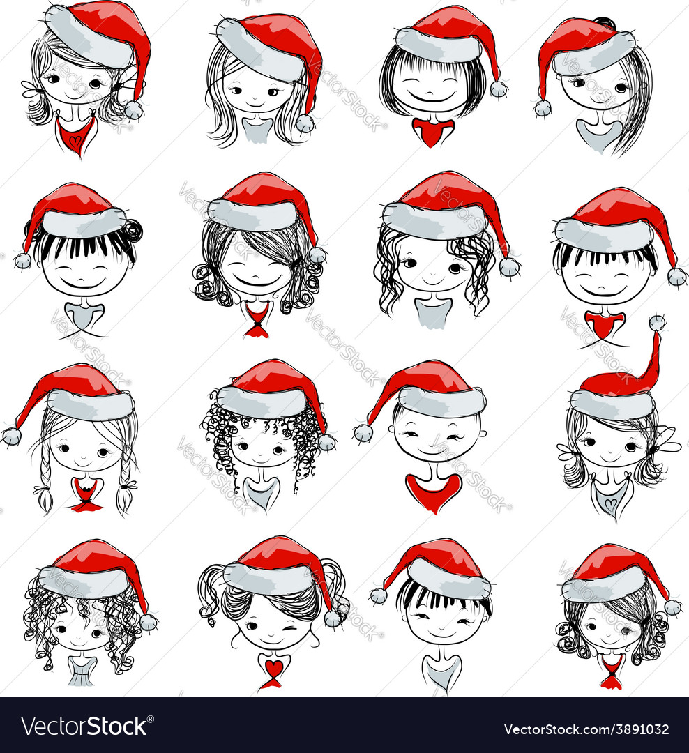 Santa girl collection sketch for your design vector | Price: 1 Credit (USD $1)