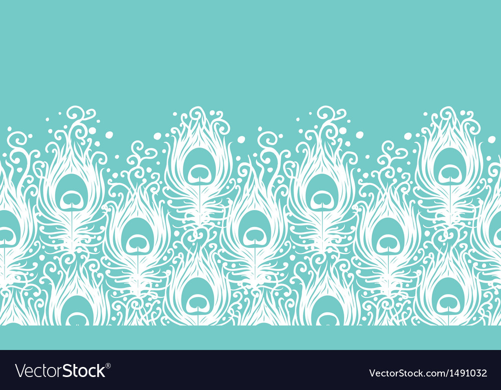 Soft peacock feathers horizontal seamless pattern vector | Price: 1 Credit (USD $1)