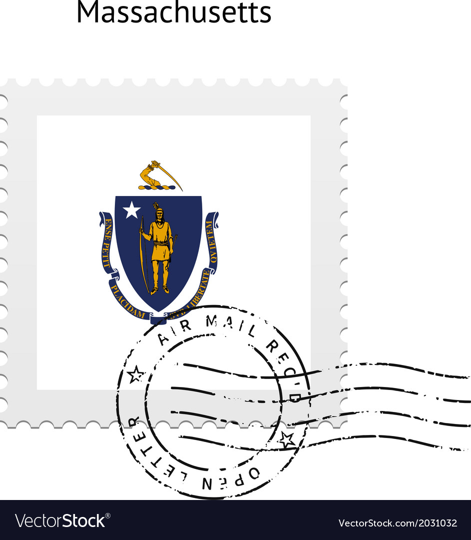 State of massachusetts flag postage stamp vector | Price: 1 Credit (USD $1)