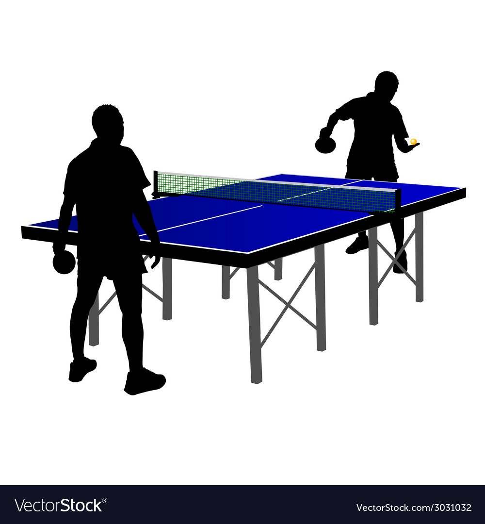 Two men playing table tennis vector | Price: 1 Credit (USD $1)