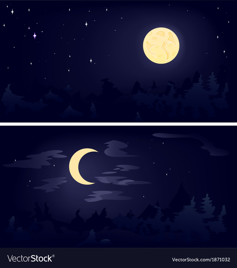 Two phases of the moon vector | Price: 1 Credit (USD $1)
