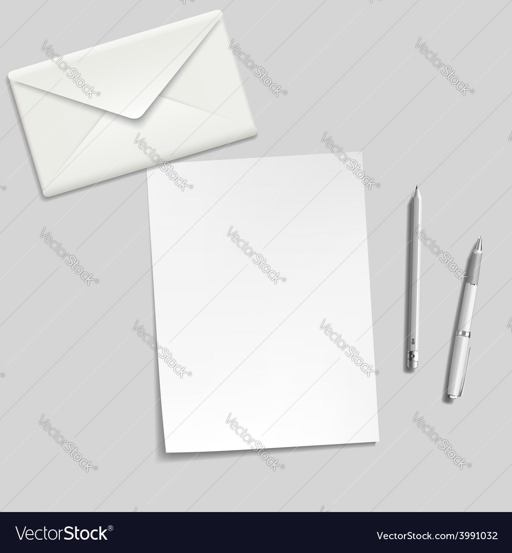 White sheet envelope pen and pencil on the table vector | Price: 1 Credit (USD $1)