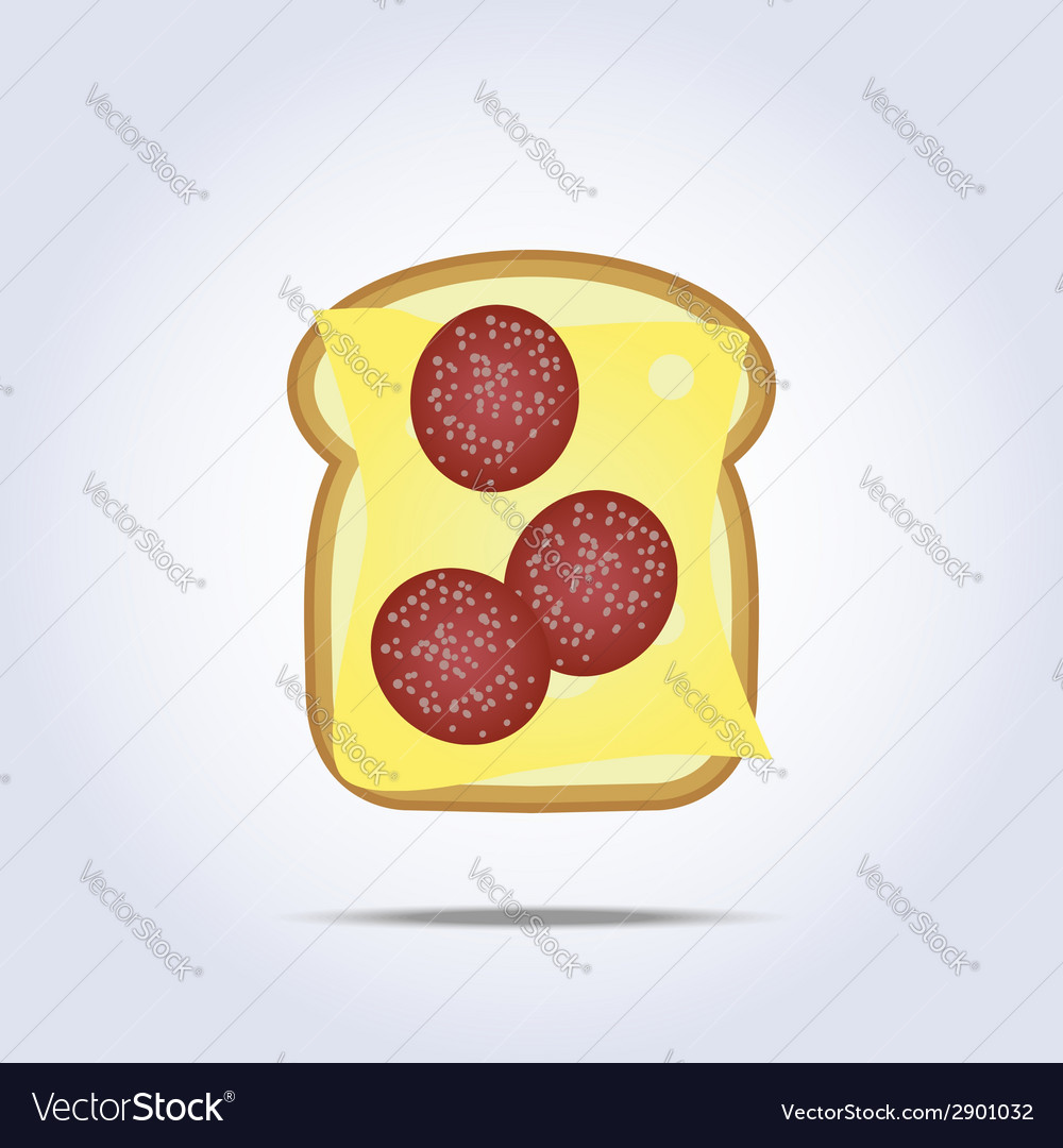 White toast with cheese and salami icon vector | Price: 1 Credit (USD $1)