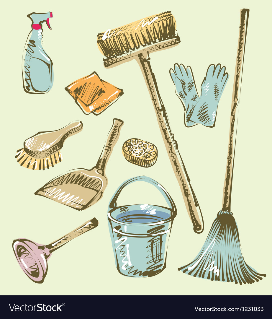 Cleaning service sketch design elements vector | Price: 1 Credit (USD $1)