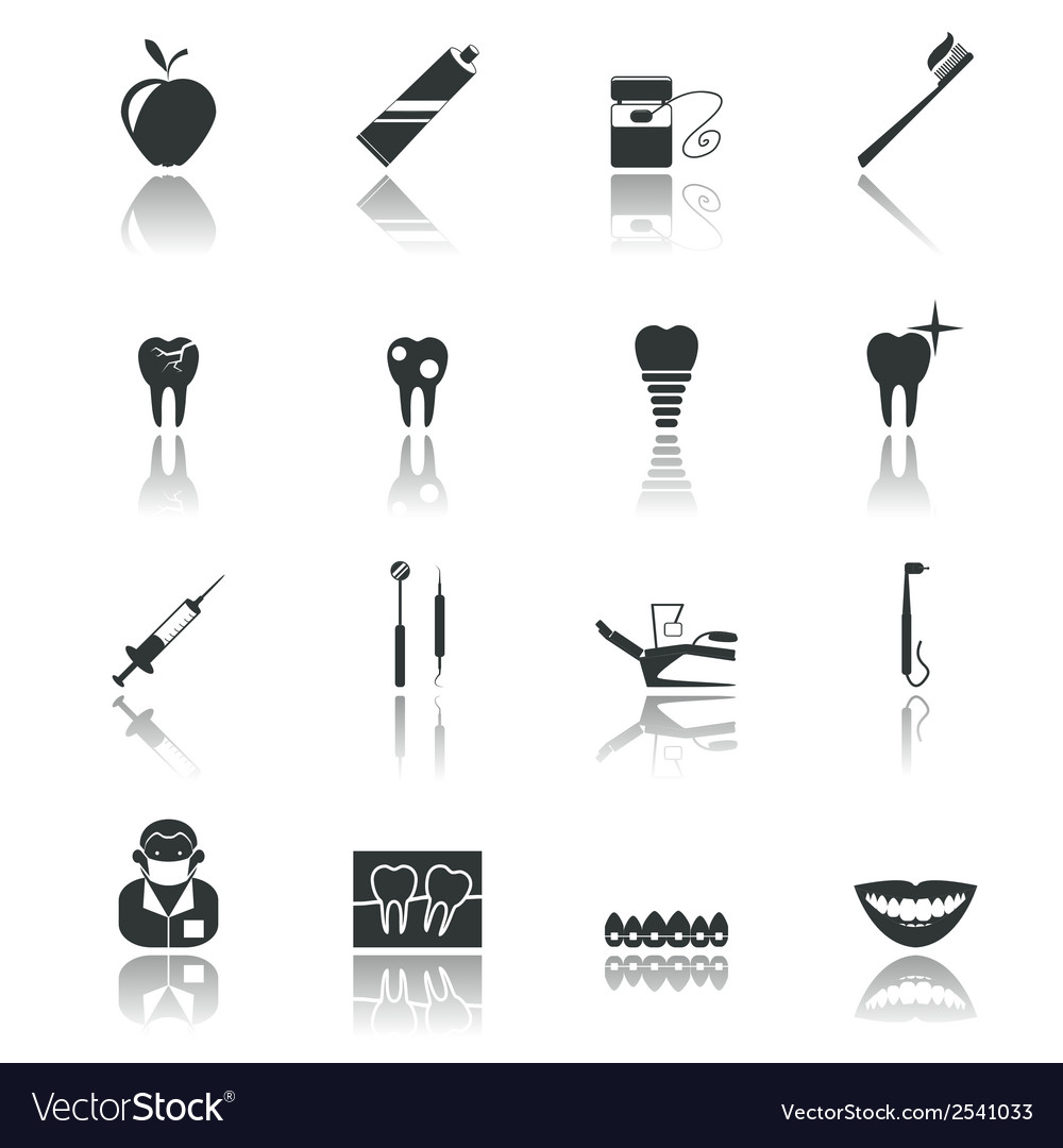 Dental icons black vector | Price: 1 Credit (USD $1)