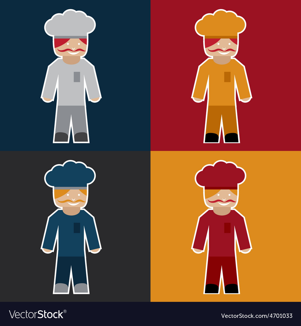 Flat sticker of chef vector   Price: 1 Credit (USD $1)