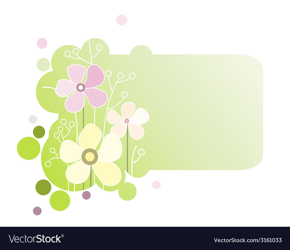 Green banner with flowers vector | Price: 1 Credit (USD $1)